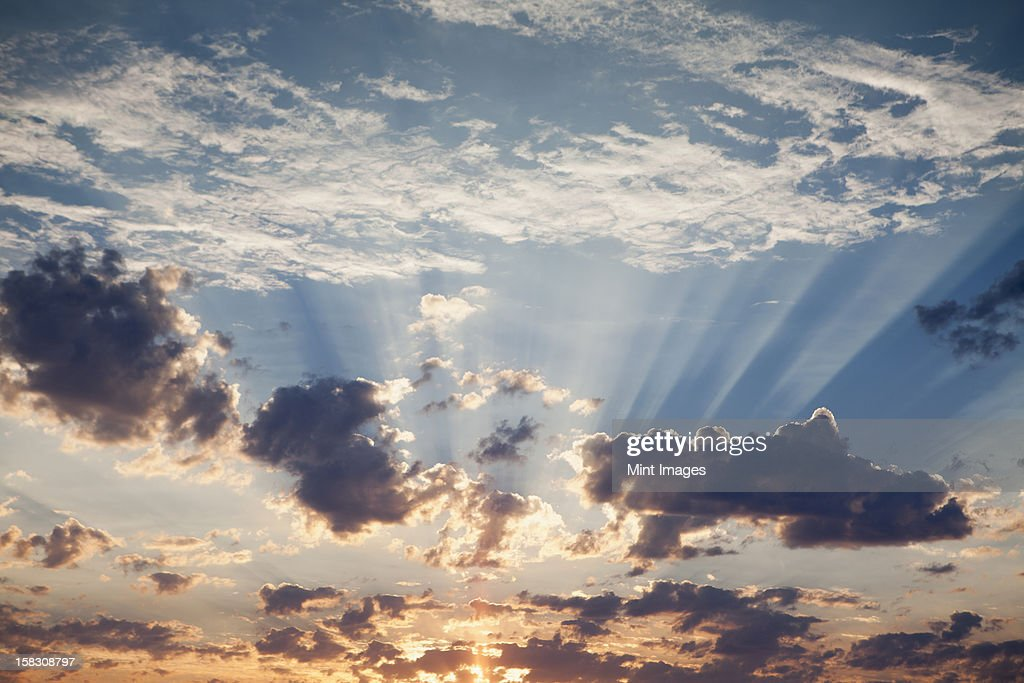 Sunset, clouds gathering, in the sky over Black Rock Desert, Nevada.  : Stock Photo