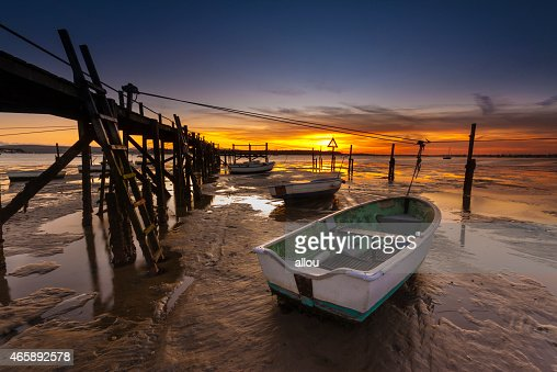 Sunset coastal scene of Poole Harbour : Stock Photo