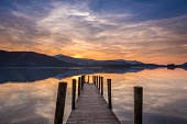 The sun setting over a calm Derwent Water in Lake District
