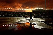 A sunset during a rain delay at the NASCAR Sprint Cup Series SpongeBob SquarePants 400 at Kansas Speedway on May 9 2015 in Kansas City Kansas