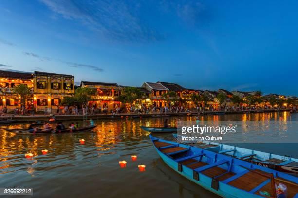 Sunset falls at Thu Bon river, Hoi An, Vietnam