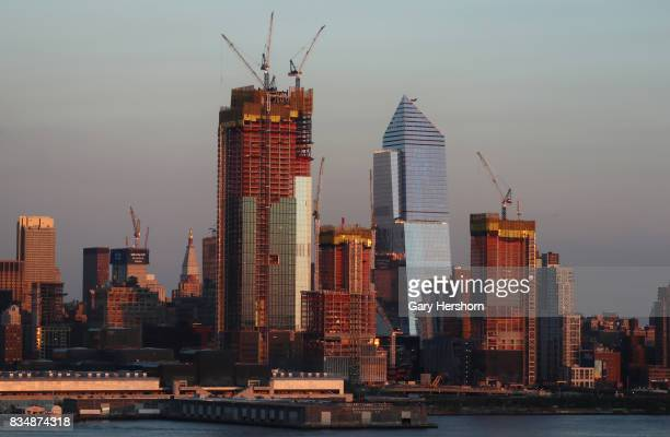Sunset falls on midtown Manhattan and Hudson Yards in New York City on August 16 as seen from Weehawken New Jersey