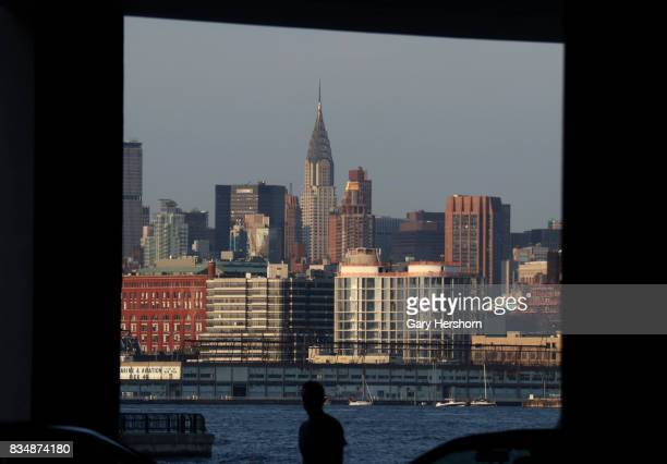 Sunset falls on the Chrysler Building in New York City on August 17 as seen from Jersey City New Jersey