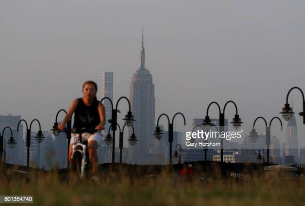 Sunset falls on the Empire State Building in New York City on June 18 as seen from Liberty State Park in Jersey City NJ