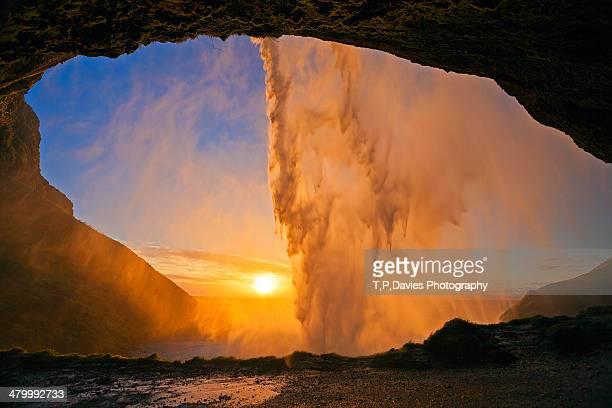 Sunset from behind Seljalandsfoss, Iceland