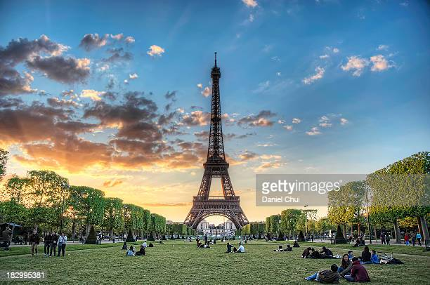 Sunset from Champ de Mars in Paris