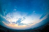Sunset, fisheye view