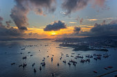 Sunset from harbour in Hongkong at top view
