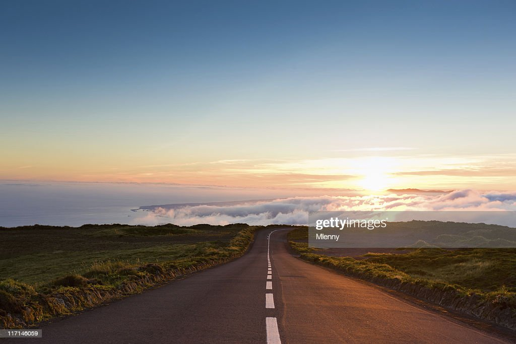 Sunset Highway into the Clouds : Stock Photo