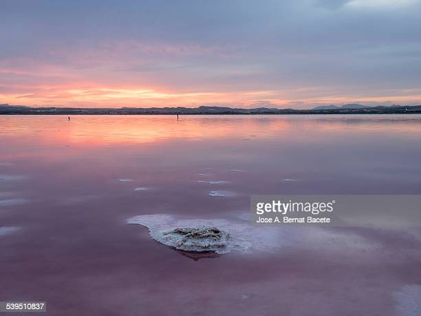 Sunset in a lagoon of salty water