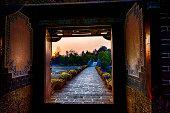 Sunset in an old bridge