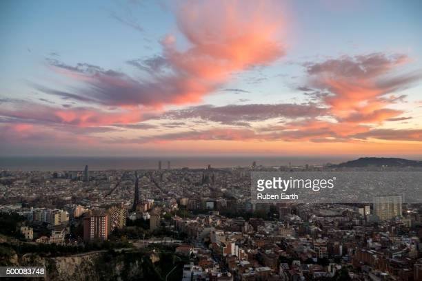 Sunset in Barcelona high angle view