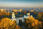 Sunset in Chisinau, Republic of Moldova. Aerial photography