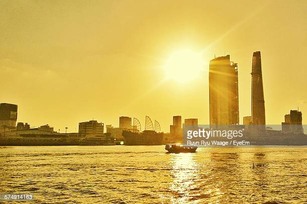 Sunset In City At Sea