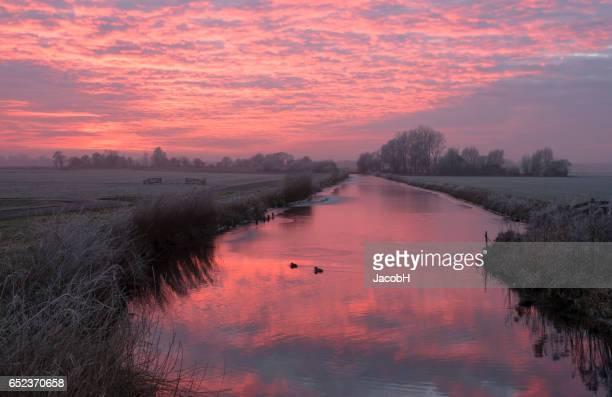 Sunset in Dutch Polder