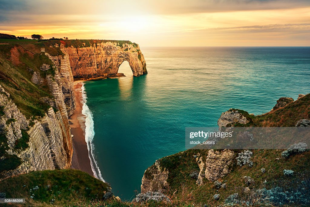 sunset in Etretat : Stock Photo