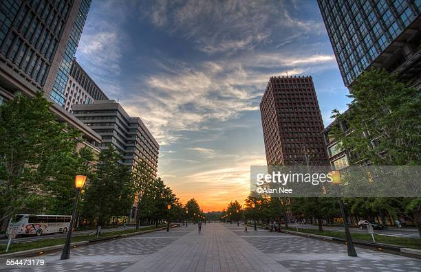 Sunset in front of Tokyo Station