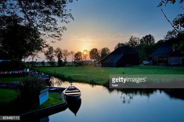 Sunset In Giethoorn Village