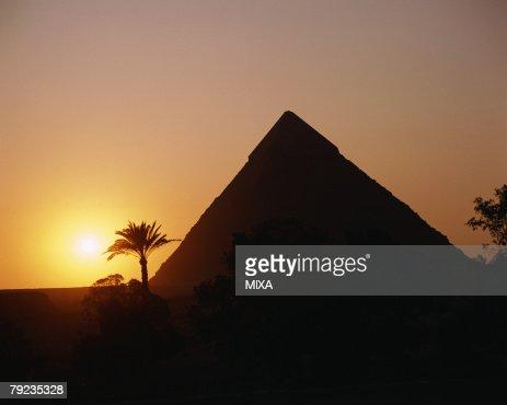 Sunset in Giza, Egypt : Stock Photo
