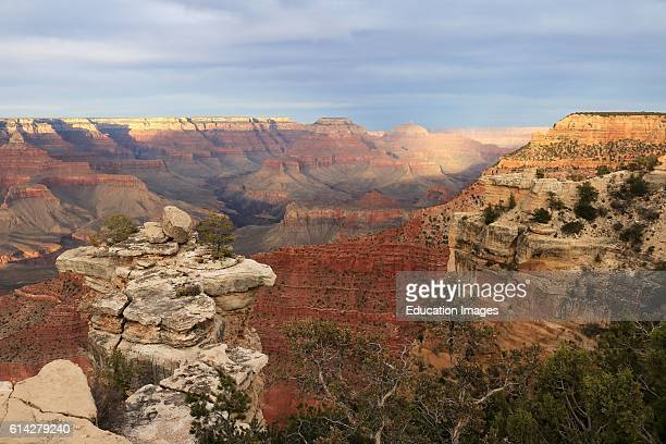 Sunset in Grand Canyon National Park Arizona viewed from Mather Point on the south rim