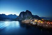 sunset in Hamnoy village, Lofoten islands, Norway