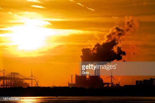 Sunset in industrial area.