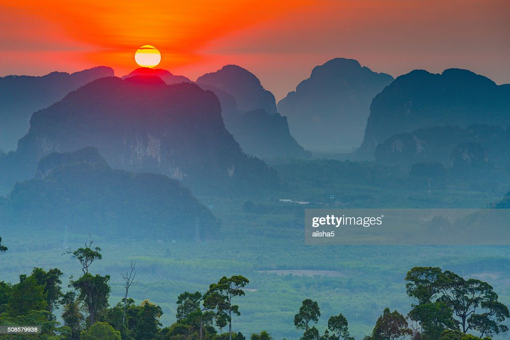 Sunset in Krabi mountains : Stock Photo