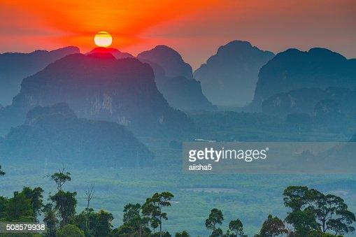 Sunset in Krabi mountains : Stock Photo