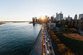 Sunset in Manhattan downtown, New York City, USA