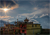 Sunset in Muktinath, Mustang region, Western Himalayas, Nepal.