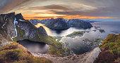 Norwegian landscape during midnight sun