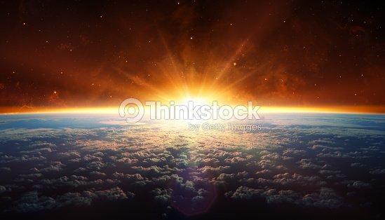 Sunset In Orbit : Stock Photo