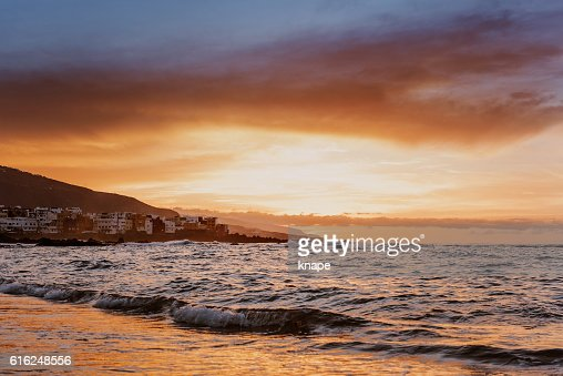 Sunset in Puerto de la Cruz Tenerife Spain : Foto de stock