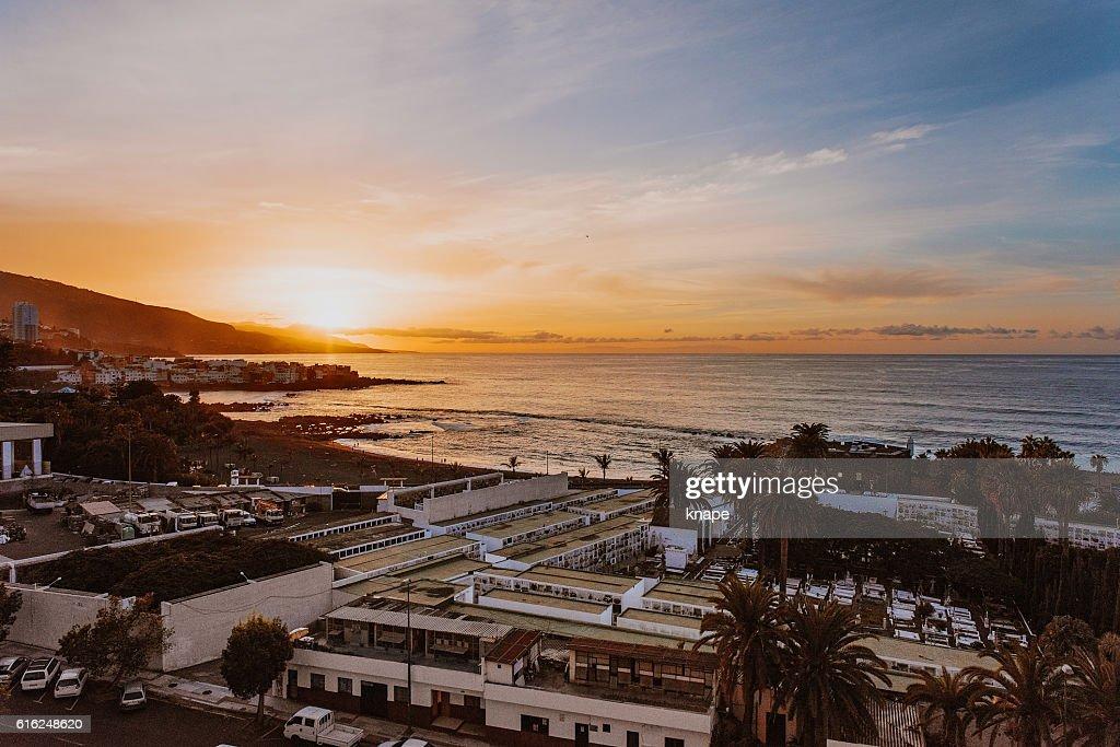 Sunset in Puerto de la Cruz Tenerife Spain : Stock Photo