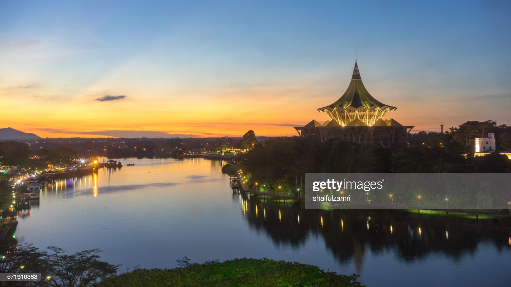 Sunset in Sarawak river in Kuching
