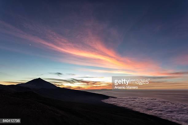 Sunset in Teide National Park in Tenerife