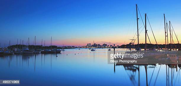 Sunset in the Bonston harbor area