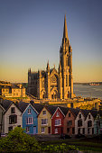 Beautiful sunset and colors in the St Colmans Cathedral of Cobh in Ireland.