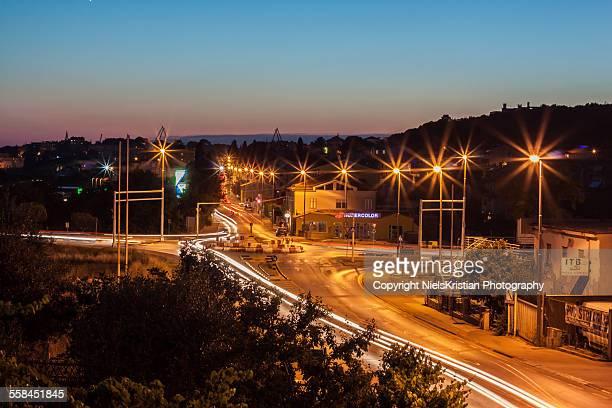 Sunset in the city of Pula Istria Croatia