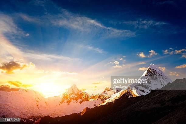 Sonnenuntergang in der Cordillera Blanca-Berge