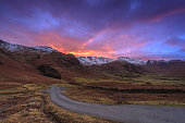 Sunset in the Langdale Valley, The Lake District, Cumbria, England