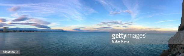 Sunset in the Mediterranean sea (Panoramic view)