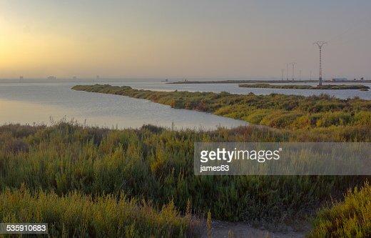 Pôr do sol na Reserva natural de San Javier, Espanha : Foto de stock
