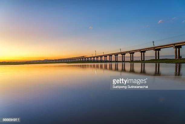 Sunset in the railway bridge