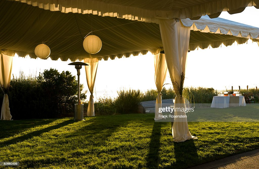 sunset in the tent : Stock Photo