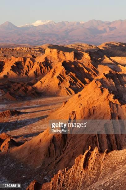 Sunset in valley of the moon in the Atacama desert