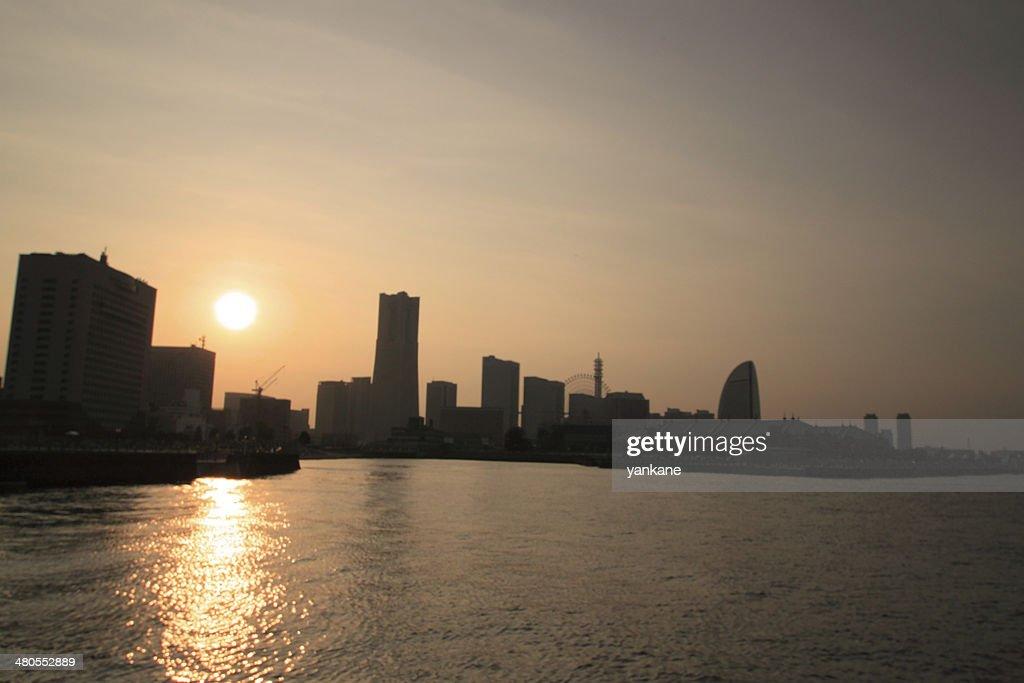 Sunset in Yokohama, JAPAN : Stock Photo