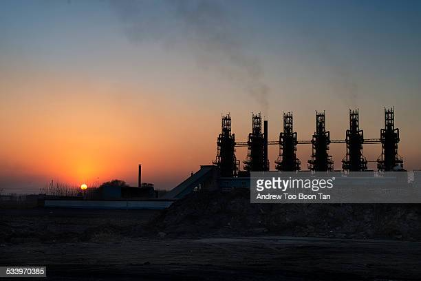 Sunset Industry Steel mill in Tangshan China during sunset December 2013