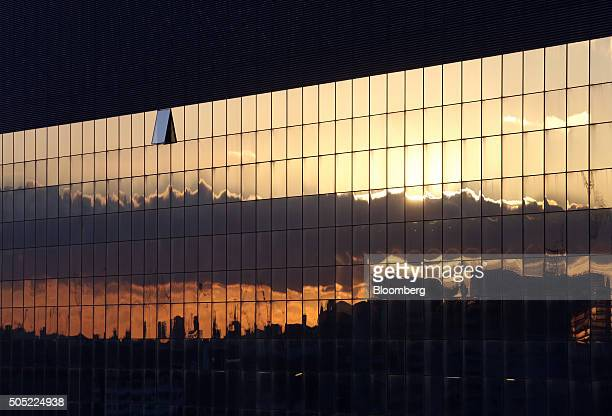 A sunset is reflected in the windows of an office block on the Old Street roundabout in London UK on Friday Jan 15 2016 Growing peertopeer lending...