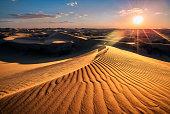 Sunset, Kubuqi Desert, near Erdos, Inner Mongolia, China.